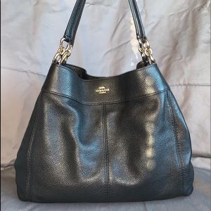 Coach Lexy Black Pebbled Leather